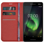 Leather Wallet Case Stand & Card Holder Pouch for Nokia 2.1 - Red